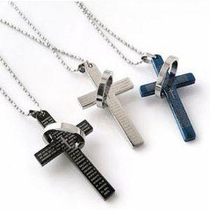 Cross Crystal Chain hombres collar de la cadena del suéter hombres de la joyería de titanio de acero inoxidable Jesús Biblia anillo colgante hombres Collares