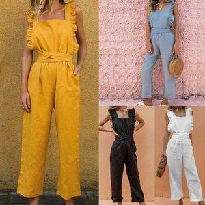 Ocasional de las mujeres del mono plaza atractiva 2020 Summer Collar mamelucos lino fruncido Volante mangas Bolsillos Damas Playsuit Streetwear XQXo #