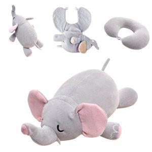 Cute Elephant Pig Bear Deformable U-shaped Plush Pillow Travel Pillow Cartoon Animal Car Headrest Doll Multi-functional Storage MX200716
