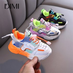 DIMI 2020 neue Kinderschuhe Mädchen Jungen Freizeitschuhe Mode Colorblock atmungsaktive Softleder Anti-Rutsch-Turnschuhe für Kinder