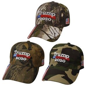 Donald Trump Cap Camuflagem 2020 Keep America Grande bandeira dos EUA Baseball Caps Snapback Hat bordado ajustável Army Cap LJJP145