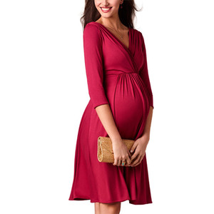Breastfeeding Dresses Maternity Clothes for Pregnant Women Clothing Solid V-neck Pregnancy Dresses Mother Wear Evening Dress