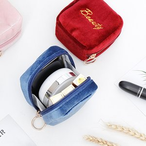 New Velvet lipstick mini cosmetic portable lipstick makeup powder cake cosmetic storage bag small bag