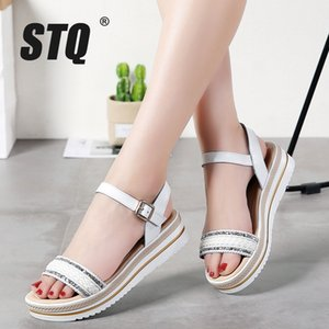 STQ 2020 del cuero de zapatos de las mujeres sandalias de verano sandalias de cuña plana señoras de la plataforma con cierre de tiras planas 896 Beach