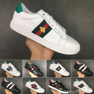 Bee designers shoes Top Quality New ACE embroidered white black Paris Genuine Leather Designers Sneaker Men Dress Women Casual Shoes H-DC2