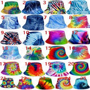 3D color tie-dye bucket hat caps unisex gradient flat top sunhat fashion outdoor hip-hop cap adults kids beach sun hats D71502