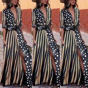 Boho Striped Womens Half Sleeve Wave Point Fashion Dress Ladies Casual Evening Paty Long Dress Women Aug15 Designer Clothes