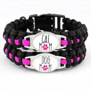Individuelle Dog Mom Cat Mom Schwarz-Rosa-Hundeliebhaber-Katzen-Liebhaber-Liebe-Liebe Paracord Überleben Freundschaft Armband der Frauen qgks #
