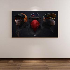 Moderno divertido Mono de pensamiento con la pintura del arte de la lona de auriculares animales Poster Prints Pared de imagen para la sala de estar Decoración