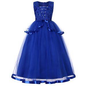 2020 BlueCute Flower Girls Dresses For Wedding with 3D Flower Appliques Beading Back Kids Dress Formal Occasion Birthday Dress