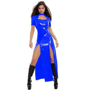 12 Colors Novelty Keyhole Long Dress Women Catwoman Witch Cosplay Costume Sexy Short Sleeve Split Dress Glossy PVC Club Vestido