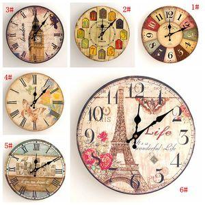 Vintage Silent Wall Clock European Retro Handmade Decorative Wall Clocks Bedroom Kitchen Living Room Wooden Quartz Wall Clock Gift BC BH3511