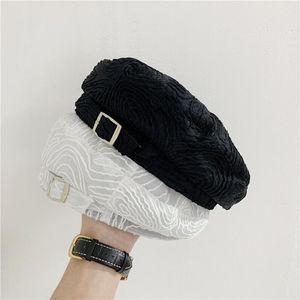 H3 Siyah bereli Kadın Yaz İnce Nefes Mesh 3D İngiliz Toka Boyacı Hat Elegant Mizaç Sekizgen Şapka