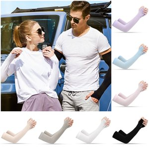 DHL Fast Ship Outdoor Sports Fashion Ice Silk Sleeve Ice Cool Breathing Sunscreen Sleeve Summer Gloves for Riding Training Arm Warmers