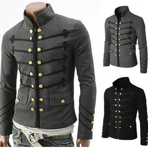 Jacket Steampunk Solid Rock Uniform Punk Metal Military Man Coat Casual Designer Mens Outerwear Vintage Men Gothic