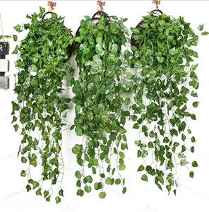 Artificial Ivy Foliage Green Leaves Fake Hanging Emalation Flower Vine Plant Rattan Wedding Party Garden Decor Wall Mounted Supply LSK402