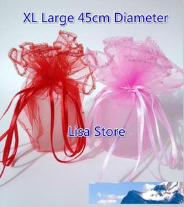 Free Ship 200pcs XL Large Red Pink Purple 45CM Diameter Organza Round Dots Jewelry Bags Wedding Party Candy Christmas Gift Bags Pouches