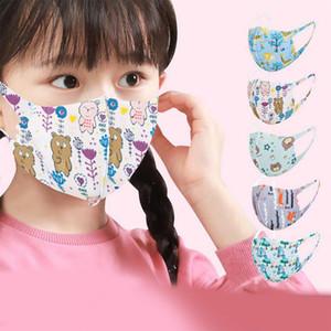 Enfants Cartoon Imprimé Lavable Masque Visage Masques Mode Designer respirant anti-poussière respirateurs Anti-bactérien réutilisable soie glace enfant