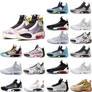 2020 New Jumpman XXXIV 34s Eclipse Snow Leopard Blue Void Amber Rise Men Basketball Shoes NakeskinJordan 34 Sport Sneakers Size 7-3Rgl#