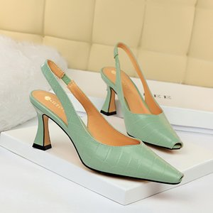2020 Mulheres Suede 10cm de altura Salto Bombas Lady Luxo Salto Feminino escarpins Fetish metal Sexy Wedding Party Glitter Shoes