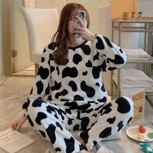 Women Designer Sleepwear Winter Warm Round Neck Printed Long-sleeved Pajamas Female Cute Cartoon Girl Suit Classic Home Service New