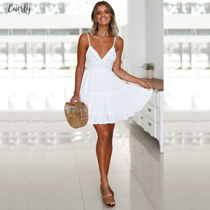 Backless Women Sexy Back Bow Dress Cocktail Party Slim Badycon Short Beach Party Mini Dresses Female White Lace Dress