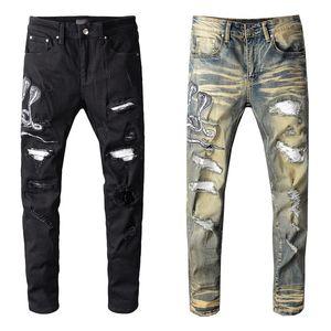 2020 New Famous Mens Jeans Mens Ripped Skinny Slim Elastic Denim Fit Biker Jeans Fashion Fit Zipper Ripped Pants Casual Hip Hop Trousers