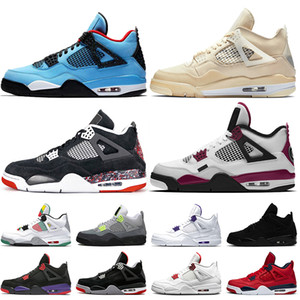 Gros 2020 Jumpman Travis Scott 4 4s VOILE PSGs Mens chaussures de basket-ball blanc Cour pourpre de chat noir au néon des femmes de l'off formateurs