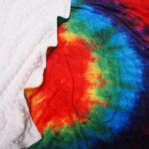 Tie Dye Dikdörtgen Bebek Battaniye Minky Plaj Havlusu Duş Hediye Bebek Battaniye Rainbow Beach Blanket Mat DOM1061166