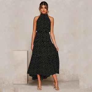 Sexy Summer Длинные платья в горошек Повседневный Midi платье черный Холтер бретелек Новый желтый сарафан Одежда для отдыха для женщин