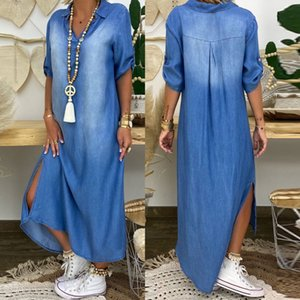 Fashion Korean Plus Size Denim Dress For Women Summer Dresses Lapel Split Sexy Long ladies Jeans Dress 3xl Vestidos