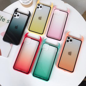 Gradient Rainbow Devil Horn Phone Case For iPhone 11 Pro Max XR X XS Max 7 8 6S Plus Case Soft Acrylic Phone Back Cover