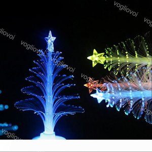 Christmas Tree Home Table Party Decor Charm Small Night Light LED Fiber Optic Christmas Trees Colorful Christmas Decoration EPACKET