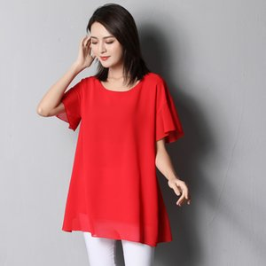 Banerdanni Yeni varış Kadınlar şifon Gömlek 2020 Yaz Casual kelebek kollu Bluz Gevşek O-Boyun Üstler Plus Size 6XL