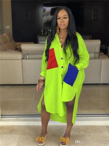 Street Style Damen Kleider Mode Patchwork Farbe Revers Hals lose Designer-Kleider beiläufige Frauen Kleider mit Taschen
