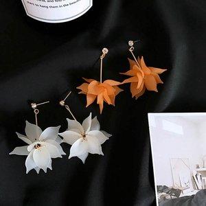 Luokey Korean New Style Petal Earrings For Women Fashion Long Tassel White Orange Color Dangle Drop Earings Ladies Party Jewelry