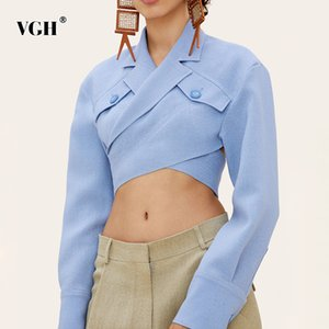 VGH Asymmetrical Slim Women's Blouses Lapel Collar Long Sleeve Casual Short Shirts Tops For Female Fashion Clothing 2020 Tide CX200714