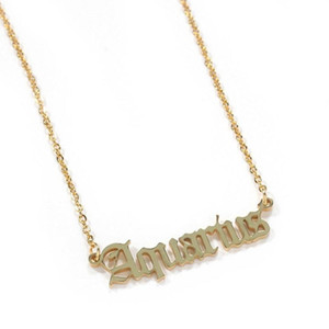 12 zodiacal signs pendant necklaces for women gold silver twelve signs pendants luxuy designer stainless steel letters necklaces jewelry