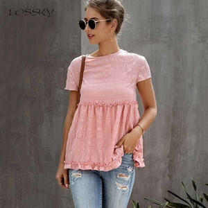 Lossky magliette donne di moda Primavera Estate manica corta di legno orecchio Nizza magliette casual a pieghe Vegan vestiti Tee Shirt Femme 2020 MX200721