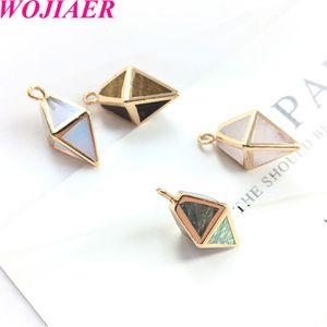 WOJIAER Assorted Natural Stone Diamonds Pendants Opalite Tigers Eyes Chakra Healing Reiki Beads Earring Pendant DIY Jewelry DBD906
