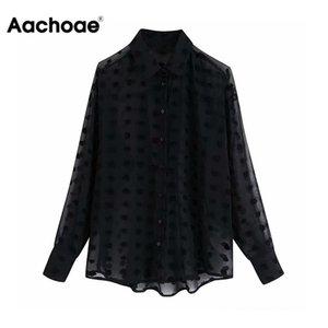 Aachoae Pois ricamo chiffon camicetta Maglia a manica lunga Sede attraverso la camicia di moda gira giù nero camicette casuali