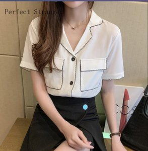 On You 2020 Summer Hot Sale High Quality Leisure Turn-down Collar Short Sleeve Women Chiffon Blouse White Y200622