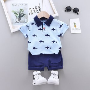 Summer 2020 children's baby clothing baby sets 1-4 years printed lapel T-shirt and pants 2 piece toddler boy clothes