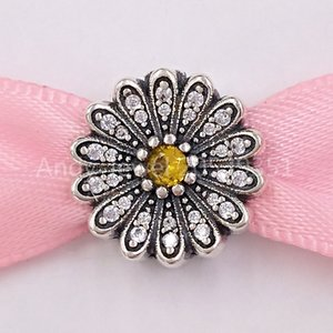 Authentic 925 Silver Beads Sparkling Daisy Flower Clip Charm Clips Fits European Pandora Style Jewelry Bracelets & Necklace 798766C01