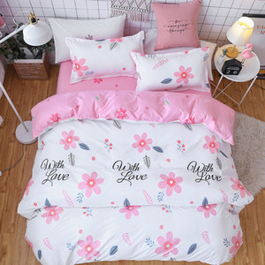 Pink Flower 4pcs Girl Boy Kid Bed Cover Set Duvet Cover Adult Child Bed Sheets And Pillowcases Comforter Bedding Set 2TJ-61018