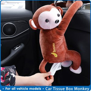 es Car Box Monkey Tissue Holder Auto Napkin Holder Cartoon Tissue Box Creative Car Paper Box Auto interna Accessories