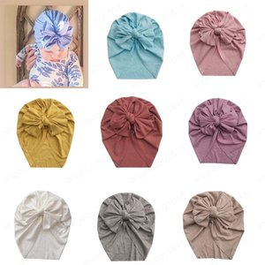 New 8 Colors Baby Bowknot Turban Hats Newborn Girls India Caps Headwrap Infant Headband Beanie Cap for Children Accessories