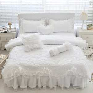 100%Cotton Thick Quilted Lace White Bedding set Girls Pink Princess King Queen Twin size Bed set Ruffle Bed skirt set Pillowcase