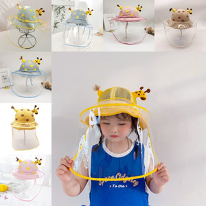 DHL Shipping Dust Protection Hat Fisherman Caps Sun Cotton Protective Cap with Removable Transparent Face Cover for Kids 18 Styles X441FZ