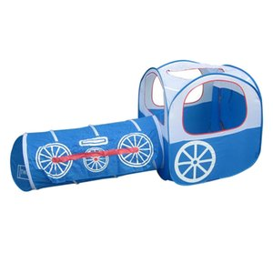 Foldable Train Play Tent with Crawl Tunnel Kids Pop Up Playhouse, Toddlers & Children Birthday Gift (Blue)